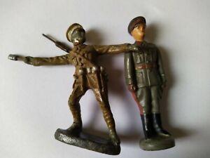 2x Figuren Masse Lineol Elastolin Soldaten