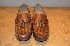 GH Bass Tan Leather Woven Leather Tassel Men's Loafers Size 8