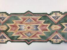 "Vintage Desert Southwestern Navajo Multi Colored Style Wallpaper Border 6 1/2"""