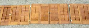 "3 Pair Vintage Wood Shutters 18 7/8"" Tall X 35"" Wide - 6 Halves"