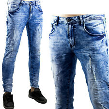 Pantaloni Uomo Sfumato Segni Strappi Jeans Slim Fit Aderenti Elastici Toppe Blu
