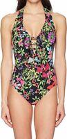 Bleu Rod Beattie Womens Swimwear Black 10 Floral Ruffle PlungeSwimsuit $129 133