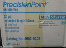 1 CASE OF 960 MLA SYSTEMS INC. 30µl PRECISION POINT PIPETTE TIPS 4052-5202