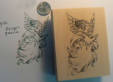 """P21 Angel with book rubber stamp WM 1.5x2.75"""""""