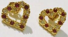 boucles d'oreilles percées bijou vintage couleur or coeur cristaux diamant  2631