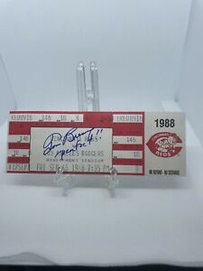 Tom Browning AUTOGRAPHED Perfect Game Sept. 16 1988 FULL Ticket Cincinnati Reds