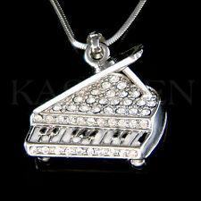 w Swarovski Crystal 3D Enamel MUSIC Baby Grand Piano Jewelry Charm Necklace New