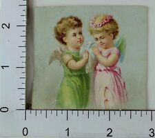Lovely Victorian Scrap Trade Card Adorable Angels/Cherubs White Dove F67