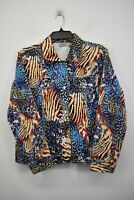 Chicos Women Animal Print Collared Button Front Long Sleeve Denim Jacket 1