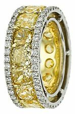 29 ct Cushion Yellow Vivid Cocktail Ring Gorgeous unique Broad Eternity Band