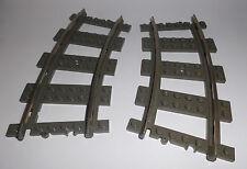 Lego (2867) 2 Gleise/Schienen (Kurve) 9V, in alt dunkelgrau aus 4559 4512 4511