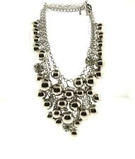 Lane Bryant Multi Strand Silver Bead Cluster Necklace NWT