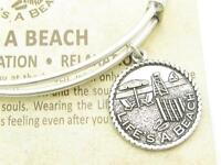 Wind & Fire Life's A Beach Silver Charm Wire Bangle Stackable Bangle Bracelet