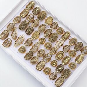 Wholesale 20pcs/lot Vintage Carved Flower Golden Plated Jewelry Rings For Women