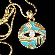 w Swarovski Crystal Gold Pl ~Hamsa Hand Evil Eye Turquoise Circle Charm Necklace