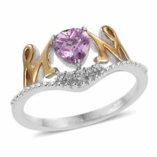 MOM SCRIPT PINK WHITE SAPPHIRE SIMULATE 18K PLATINUM BOND MOTHER'S RING SIZE 5