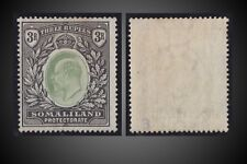 1904 SOMALILAN KING E.VII 3R GREEN & BLACK MINT NO GUM  SCT. 38 SG 43.SIGNED