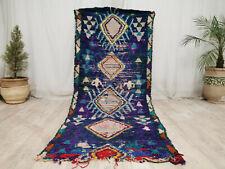 Vintage Moroccan Boucharouite Handmade Rug 3'x7'6 Geometric Berber Blue Wool Rug