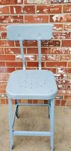 Vintage Lyon Industrial Stool Metal Factory Drafting Lab Chair Gray