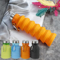 550ml Collapsible Foldable Water Bottle Sports Silicone Kettle Outdoor   D*//