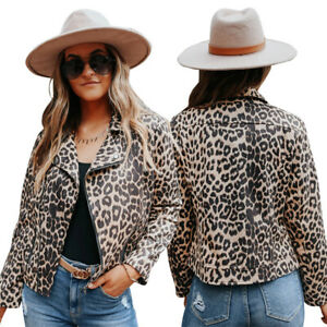 Beautiful Women's Fall/winter Style Leopard Print Lapel Fashionable Casual Jacke