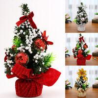 Mini Arbre Noël Neige Boule Fleur Ornament Décor Maison Fête Enfant Cadeau 20cm