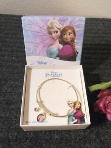New Disney's Frozen Anna and Elsa Girls Charm Bangle Fine Silver Plated