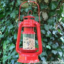 Red metal old oil Lantern style wild garden bird seed feeder bird lover gift
