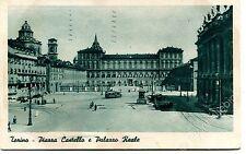1916 Torino Piazza Castello e Palazzo Reale auto d'epoca tram  FP B/N VG ANIM