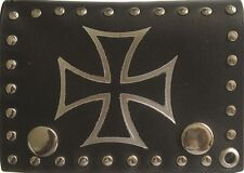 German Iron Cross Naval Jack Black Genuine Leather Wallet With Chain (4 inch)