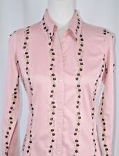 Johnny Cotton Women's Shirt Sz Small Button Up Colorful Embroidered Pink Floral