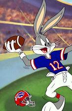 """Looney Tunes Buffalo BILLS Jim Kelly Bugs Bunny Hail Mary NFL REPRINT 11""""x17"""""""