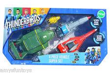 New Thunderbirds Are Go 90294 4 Piece vehicle Set + 1 random Action Figures Free