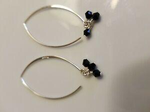 Silpada Sterling Silver Black Obisdian Threader Earrings  Social Gathering