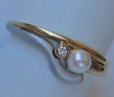 Brillant Ring in aus 14kt 585 Gold mit Brillanten Diamanten Perlen Perle ☆ 6643