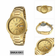 Seiko 5 Classic Mens Size Gold Dial & Plated Stainless Steel Strap Watch