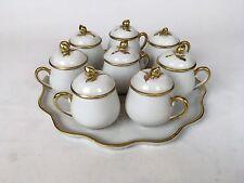 Antique Limoges France Pot De Creme Set Of 8 With Tray