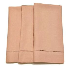 NEW Set of 3 Pottery Barn Linen Hemstitch Napkins-Rare Pink Color-NWT