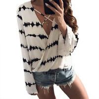 Mujer Blusa chiffon camisa de Manga Larga Verano Holgado Top Casual Camiseta