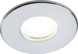 Knightsbridge 230V IP65 Fixed GU10 Fire-Rated Downlight White Chrome Brushed