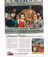 1953 New York Central Passenger Train Christmas Window art Vtg Print Ad