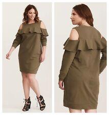 dabd430d1a7 Torrid Olive Green Cold Shoulder Sweatshirt Ruffle Dress 1x 14 16  44765