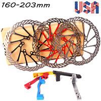 160/180/203mm Mountain Bike Disc Brake Rotor Post Mount Adapter Rotor Caliper US