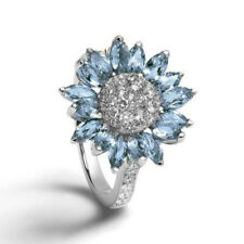 New 925 Sterling Silver Aquamarine White Sapphire Flower Rings Wedding Jewelry