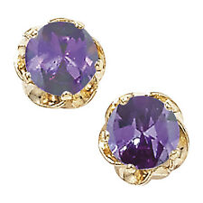 New 9ct Gold Amethyst Round Stud Earrings Women's Jewellery Gift Violet Purple