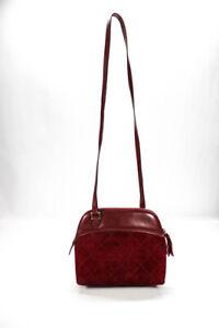 Salvatore Ferragamo Womens Suede Quilted Texture Crossbody Shoulder Handbag Red