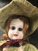 Vintage Seto Fukaya Bisque Doll Glass Eyes Rare & Open Mouth
