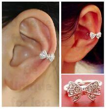 Bow Rhinestone Ear Cuff Ring Fake Ear Cuff (Single, No Piercing, Not Adjustable)