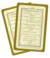 TEN 10 COMMANDMENTS  prayer card (Lot of 2 ) Laminated Christian prayer cards