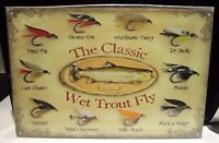 """CLASSIC WET TROUT FLY, COLLECTABLE 12""""X 8"""" METAL/steel SIGN 30x20cm, FISHING"""